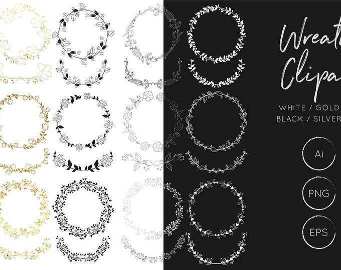 Wreath Clipart - Gold / Silver / Black / White