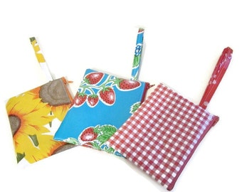 Pouches,Purse,Bags,Cosmetics,Coins,Change,Cell Phone,Case,Oilcloth,Zippered,3 Piece,Set,Vintage