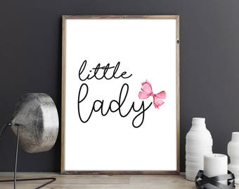Little Lady Minimalist Typography Pink Watercolour Bow Girls Room Wall Art Nursery Print