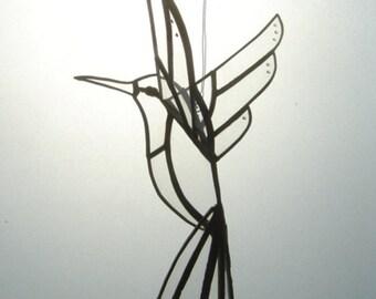 Black Solder 3D Stained Glass Humming Bird –  Plain Glass - Jewel Effect  – Hand-made