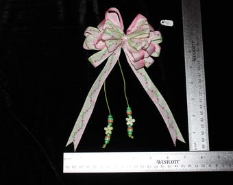 Pink & Green Ombre Flower Hair Bow