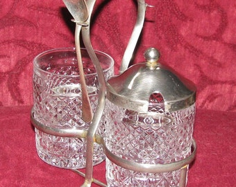 Antique glass jam pots in caddy, REDUCED