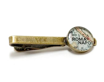 Roma, Italy 1942 Vintage Map Tie Clip. Ready To Ship. Map Tie Bar. Rome Tie Tack. Gifts for Men. Travel Gifts For Dad. Father's Day. Grandpa