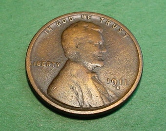 1911-S  Lincoln Wheat  Cent Very Good - Semi Key Date  <>ET0027