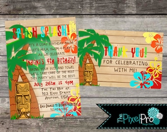 Hawaiian birthday invitation with tiki theme, hula birthday invitation, palm tree invitation with idol, summer birthday invite, pool party