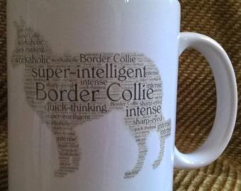 Border collie word cloud mug.