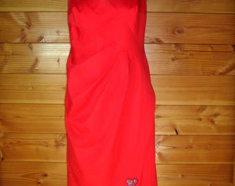 """Dress """"Queen of hearts"""" 46 size red Cotton satin"""