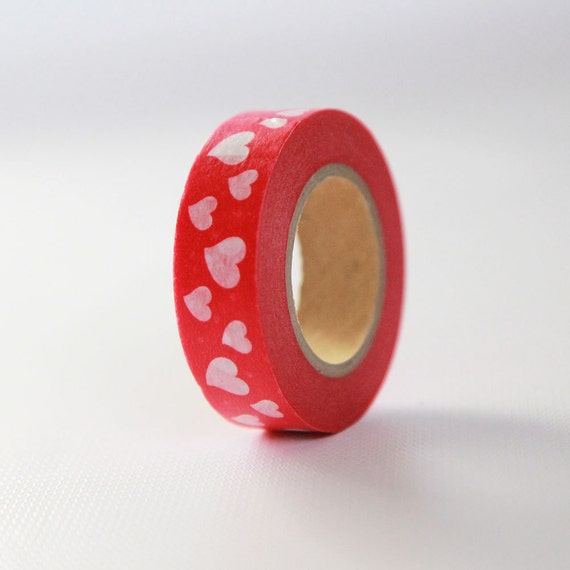 VALENTINE HEARTS Japanese Washi Tape- Single Roll 15mm