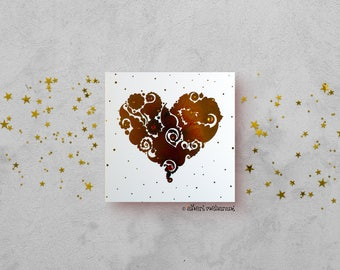 Red Love Heart Card - Gold Foil Card - Love Card - All Occasions Card - Blank Card - Card for Girlfriend - Card for Boyfriend