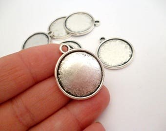 Silver Tone Round Cameo Charm Pendant_PA0551487654/ Double sides Round Cameo of 22 mm pack 8 pcs