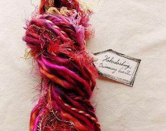 Fashion Doll hot pink coral red fringe mix twine Novelty Fiber Yarn Sampler Bundle