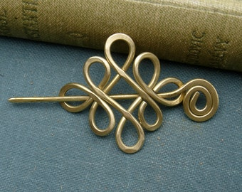 Little Looping Celtic Crossed Knots Brass Shawl Pin, Sweater Brooch, Celtic Knot Jewelry Lace Shawl Pin, Fashion Accessories, Knitters Gift