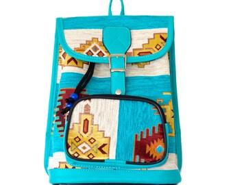 Vegan backpack, Boho backpack, Womens Backpack, Women Backpack, Blue backpack, Small backpack, Festival backpack, Blue Bag