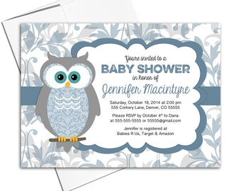 Printable baby shower invitations for a boy | owl baby shower invites | blue and gray digital or printed - Willow Lane Paper WLP00730