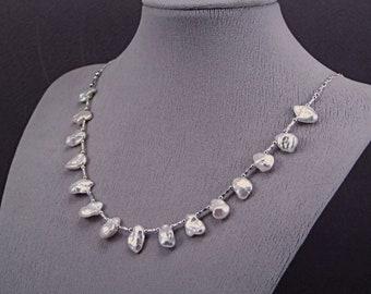 Keishi (Keshi) White Petal Pearl Sterling Silver Necklace - N965