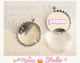 Pendant support cabochon metal silvered with a glass cabochon 30mm