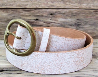 Belt in white Crackle leather, tanned, Lyon loop 4 cm wide
