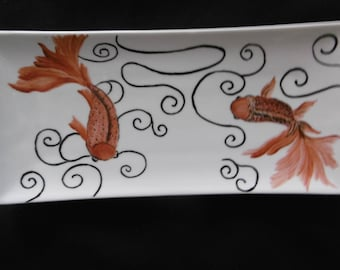 Small rectangular sushi dish hand painted porcelain: two goldfish and black swirls