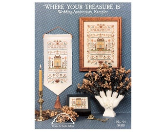Where Your Treasure Is Cross Stitch Sampler, Sampler Cross Stitch Pattern, Samplers, Sampler Pattern, Homespun Elegance, by NewYorkTreasures