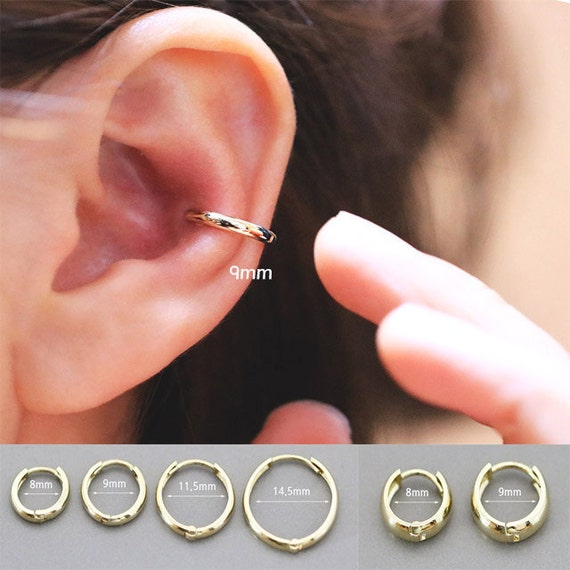 14 K Gold Cartilage Hoop Earring/Earring/Cartilage Hoop/Helix Piercing/Cartilage Earring/Conch Piecing/Rook Piercing/Snug Piercing/Daith by Etsy