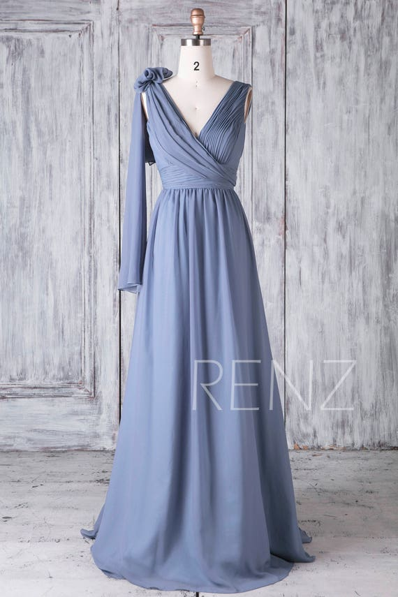 Bridesmaid Dress Steel Blue Chiffon Wedding DressConvertible