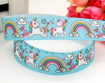 "Unicorn with Rainbow Grosgrain Ribbon 7/8"",Unicorn ribbon, 7/8"" Pastel Unicorn Ribbon"