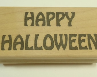 Happy Halloween Wood Mounted Rubber Stamp By Stamp Affair
