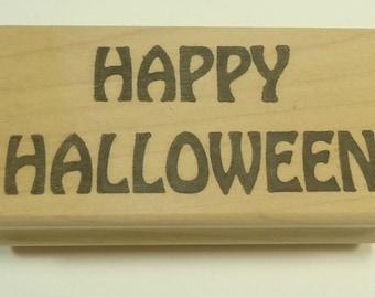 Happy Halloween bois monté tampon par tampon affaire