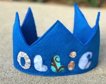 Personalized Name Cut-Out Felt and Fabric Birthday Crown