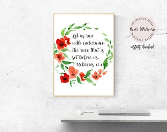 Hebrews 12:1, Bible Verse, Bible Print, Printable Scripture, Running Quote, Gift For Runner, Religious Home Decor, Bible Wall Art, Running