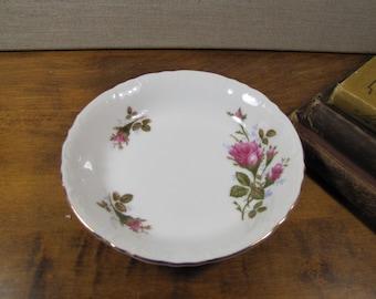 Bond Fine China - L & M (Lipper and Mann) Shallow Dessert Bowl - Pompadour Rose Pattern - Pink Roses - Gold Accent