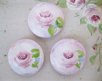 Refrigerator Magnets Hand Painted Roses Refrigerator Magnets - Roses painted on magnets - set of three  pastel shades - romantic home