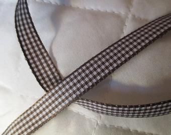 7 m brown white gingham Ribbon