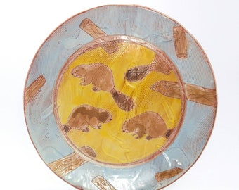 Beaver themed dinner plate - earthenware, handbuilt food safe plate made by Kaitlyn Brennan. Blue and yellow textured dinner plate
