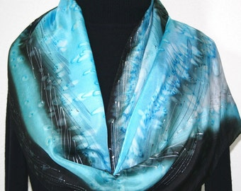 Silk Scarf Handmade. Handpainted Blue & Black Silk Scarf COLORADO BLIZZARD in Several SIZES. Anniversary Gift. Birthday Gift