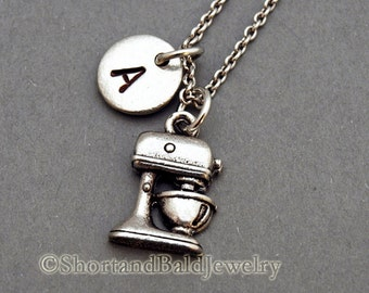 Kitchen Mixer Charm necklace, Silver mixer charm, Mixer necklace, kitchen appliance, initial necklace, personalized, monogram