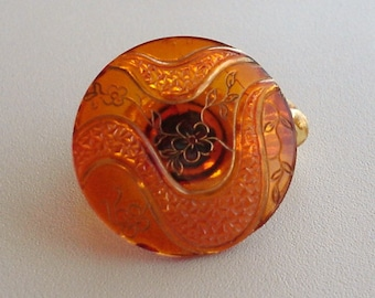 Vintage Orange Glass Button Ring, Size 3, Pinky Ring, will custom size