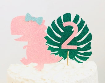 Dinosaur cake topper/ Girl Dinosaur Cake Topper/ girl dinosaur party/ girl dinosaur cake topper