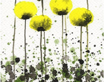 Watercolor Painting: Watercolor Flower Painting -- Yellow Flowers -- Yellow Poppies -- Marigold Flowers -- Art Print --  Citron  -- 5x7