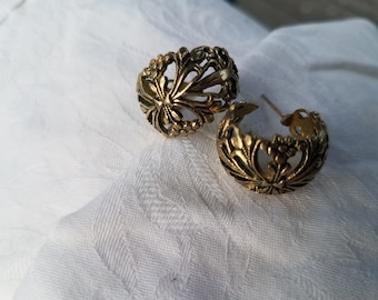Intricate Brass Vintage Hooped Earrings