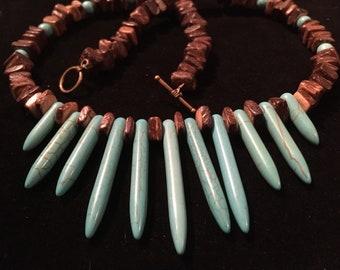 Magnesite Turquoise and wood Southwestern Necklace