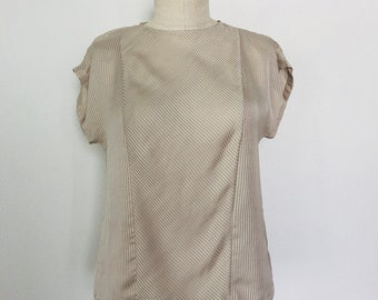 Vintage Taupe Cap Sleeve Striped Top Size S/M c. 1980