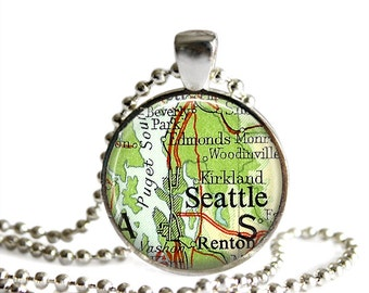 Seattle map pendant and necklace, Puget Sound pendant vintage atlas Pacific Northwest.