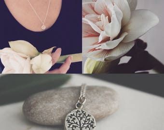 Silver Tree of Life Necklace l Sterling Silver Chain Necklace l Silver Tree of Life Pendant l Floral Pendant Necklace l Symbolic Necklace