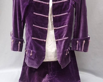 ORIGINAL Victorian 1800's Purple Velvet Boys Purple Suit Silk Lined Amethyst Diamante Buttons Jacket Trousers Wedding Page Boy