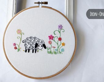 IRON-ON transfer Sheep embroidery pattern for handstitching DIY Crafts
