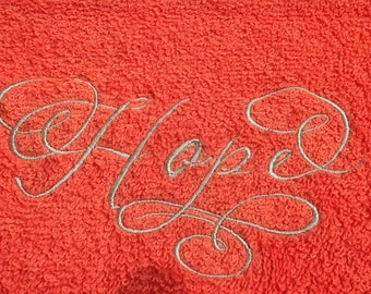 Hope embroidered terry cloth hand towel