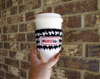 Nurse Cup Cozy, Crochet Cup Sleeve, Striped Crochet Cup Warmer, Nurse Life, Tea Cup Cozy, Feltie, Travel Cup Cozy, Coffee Cozy