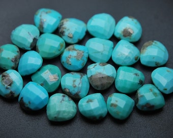 10 Pcs of Extremely Beautiful,Sleeping Beauity Turquoise Faceted Heart Shape Briolettes,size 9.5-10mm