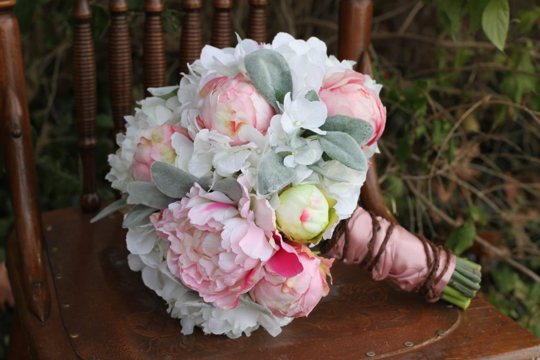 CLEARANCEBlush Pink & White Peony Hydrangea Lambs Ear Silk